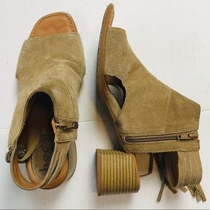 b.o.c. Peep Toe Cut Out Leather Suede Tan Booties